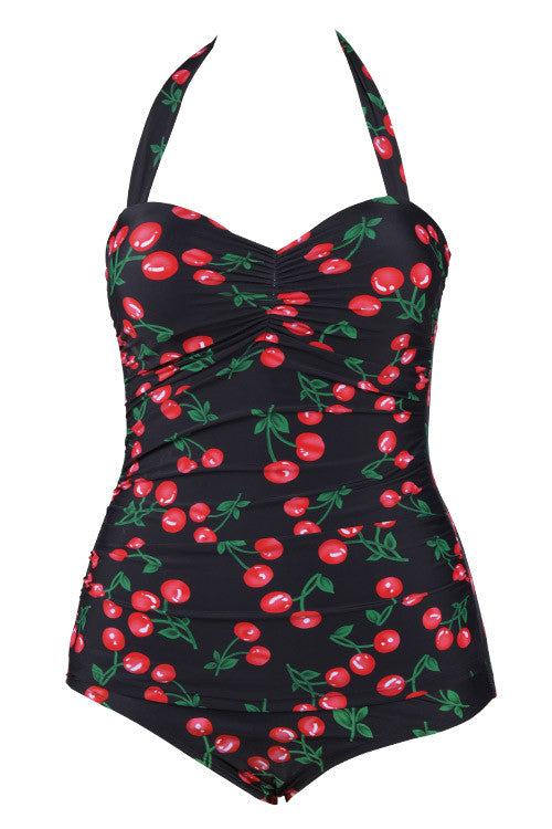 Cupshe Cherry Bomb Halter One-piece Swimsuit CYY390BS