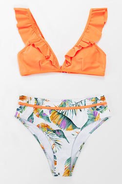 Sweet Neon Orange and Floral Ruffle Bikini