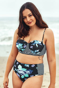 Blue Floral Print Push Up Plus Size Bikini