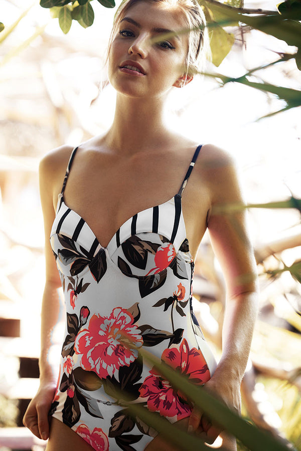 Movie Scene Floral One-piece Swimsuit