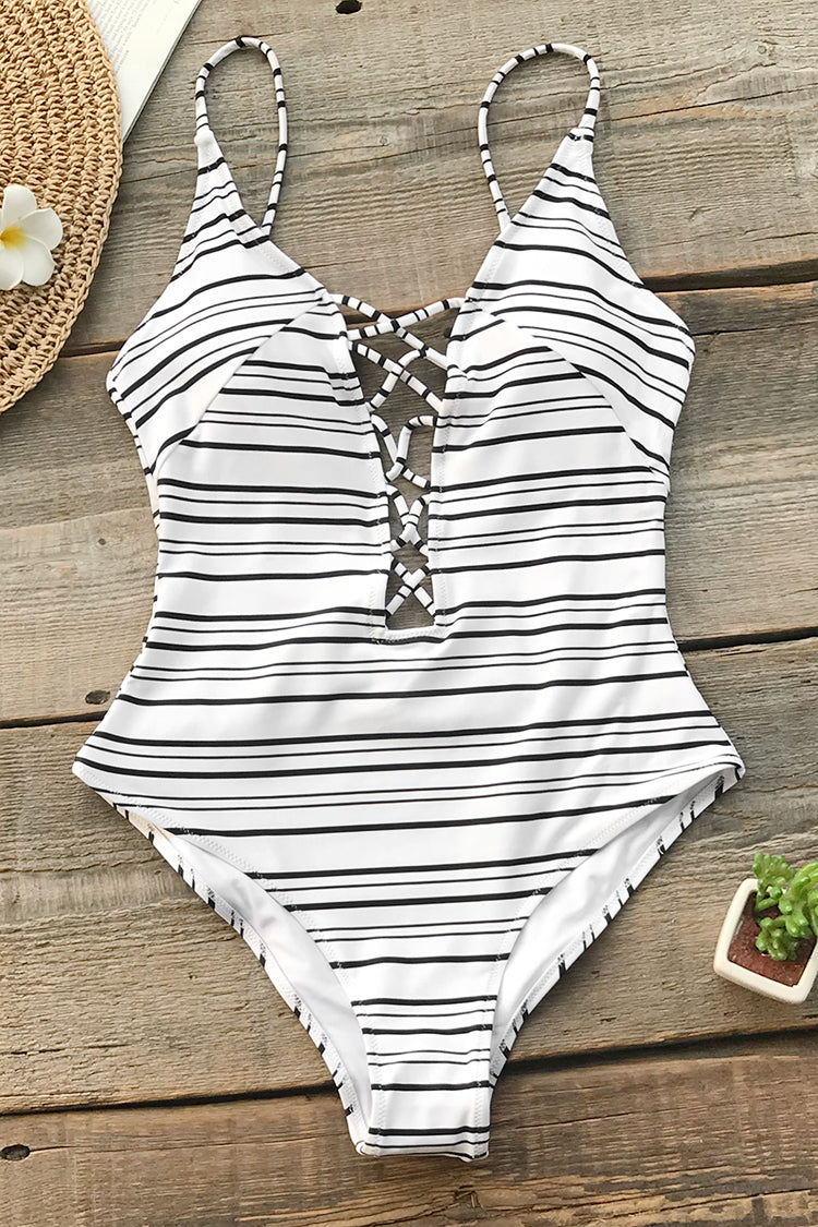 Strappy Black and White Striped One-Piece Swimsuit