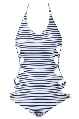 Cupshe Bule Zebra Halter One-piece Swimsuit