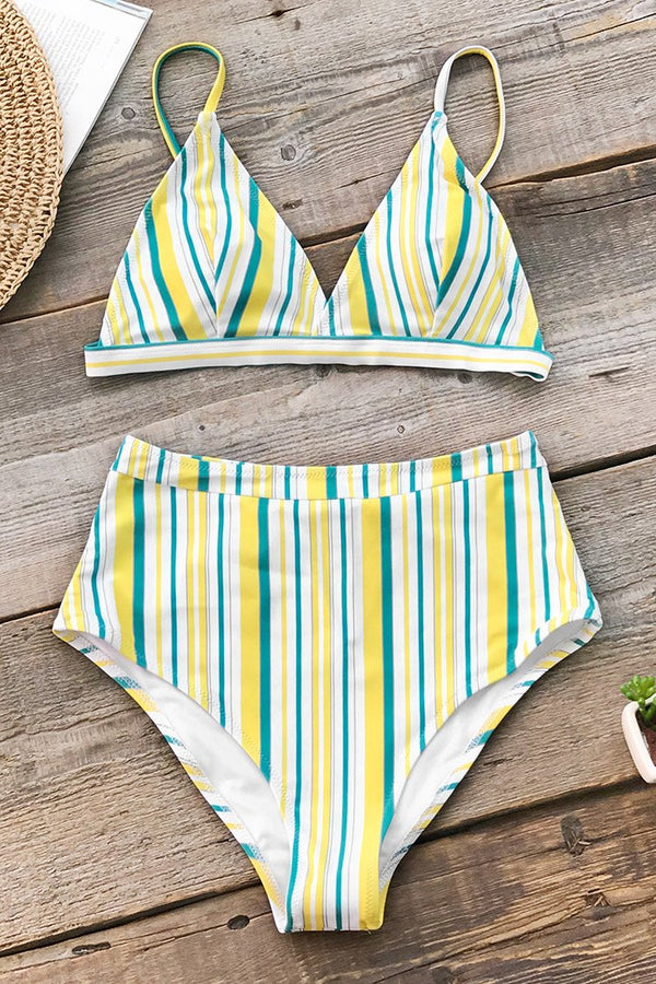 Yellow White And Blue Stripe Bikini