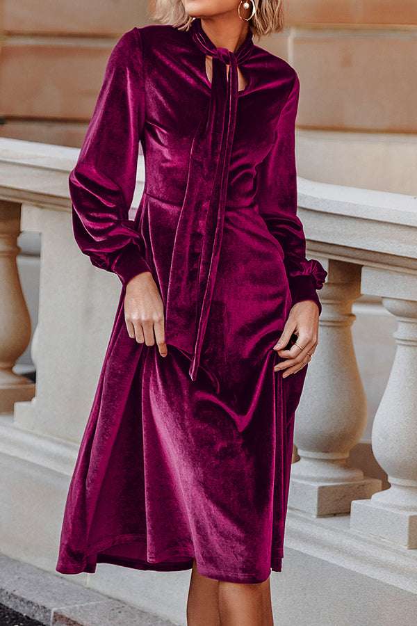 Pussy-Bow Long Sleeve Velvet Dress