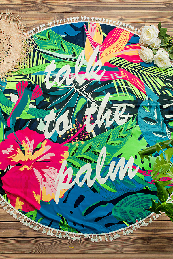 Floral and Leafy Printed Beach Towel