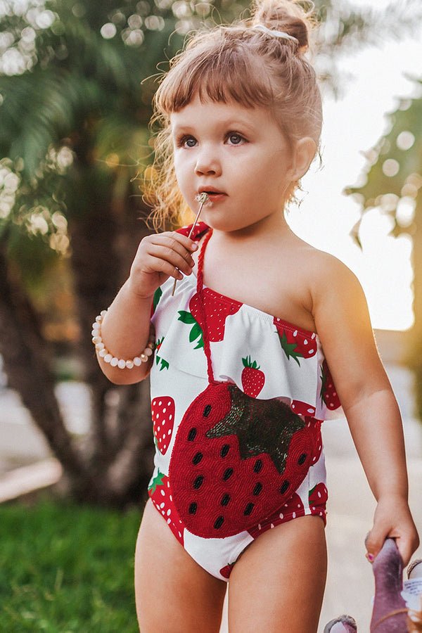 Daisy Strawberry Print One Piece Swimsuit For Toddler Girls And Girls