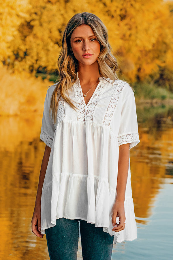 White Ruffled V-Neck Cover Up