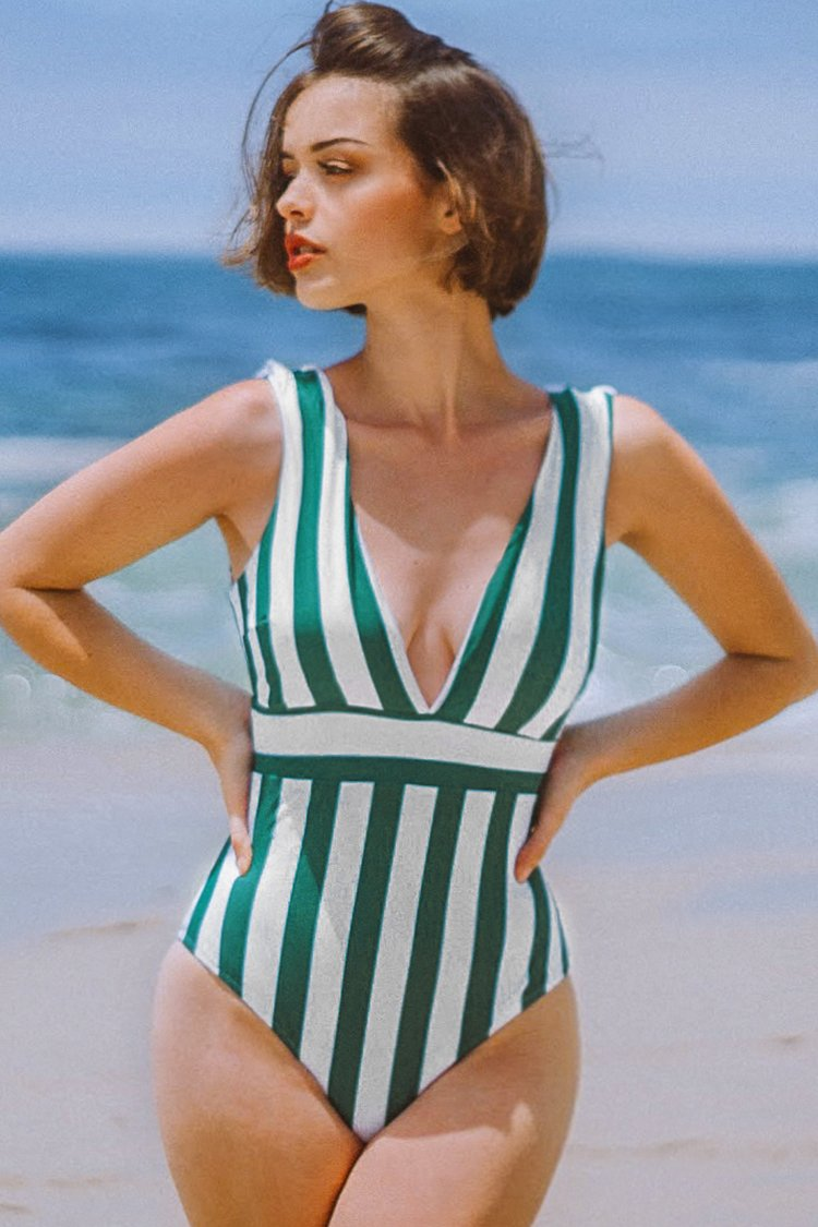 Green and White Stripe One-Piece Swimsuit
