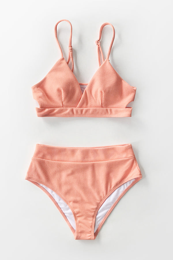 Peachy Orange RIbbed Cutout High-Waisted Bikini