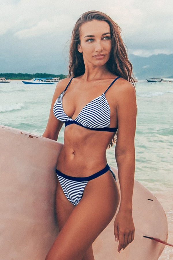 Navy And White Stripe Triangle Bikini