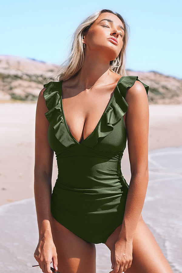 Moss Green Ruffled One-piece Swimsuit