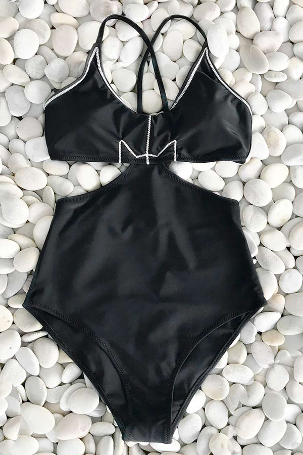 Lunatic Devil Solid One-piece Swimsuit