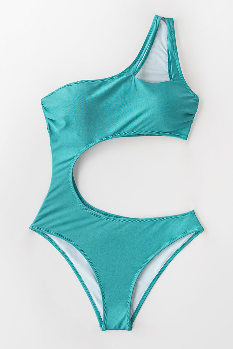 Teal One Shoulder Cutout One-piece Swimsuit