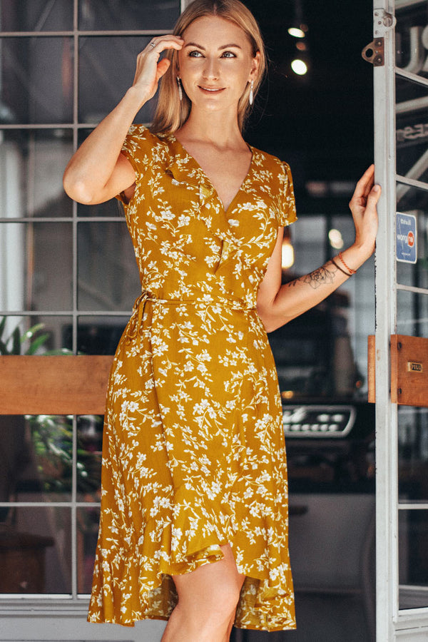 Yellow Floral Print Wrap Dress