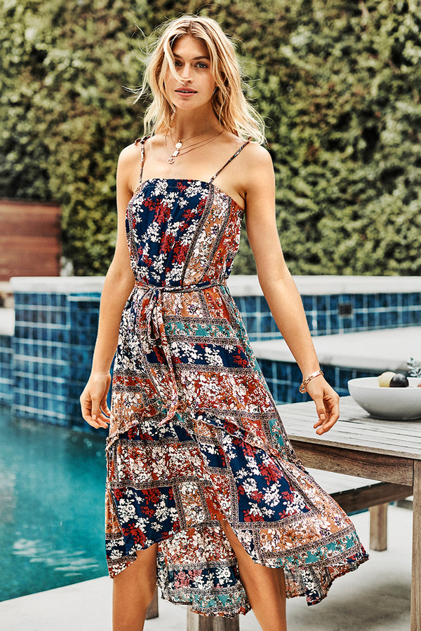 Floral Print Blocked High-Low Dress