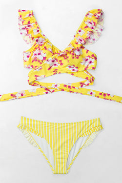 Yellow Floral and Stripe Wrap Bikini