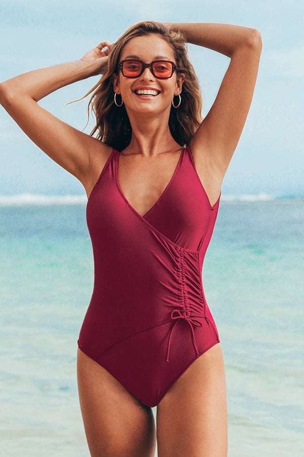 Maroon Wrap Scooped Back One-Piece Swimsuit