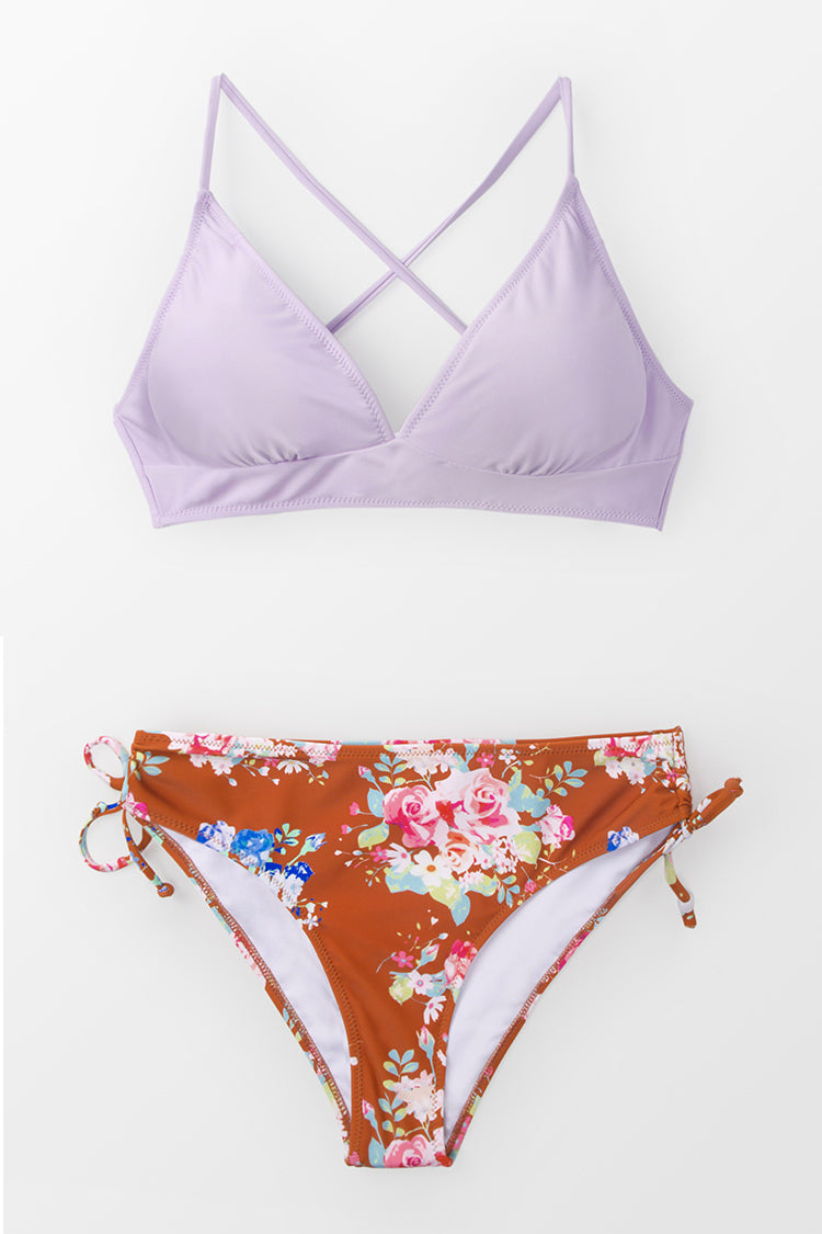 Lilac And Floral Lace-Up Bikini