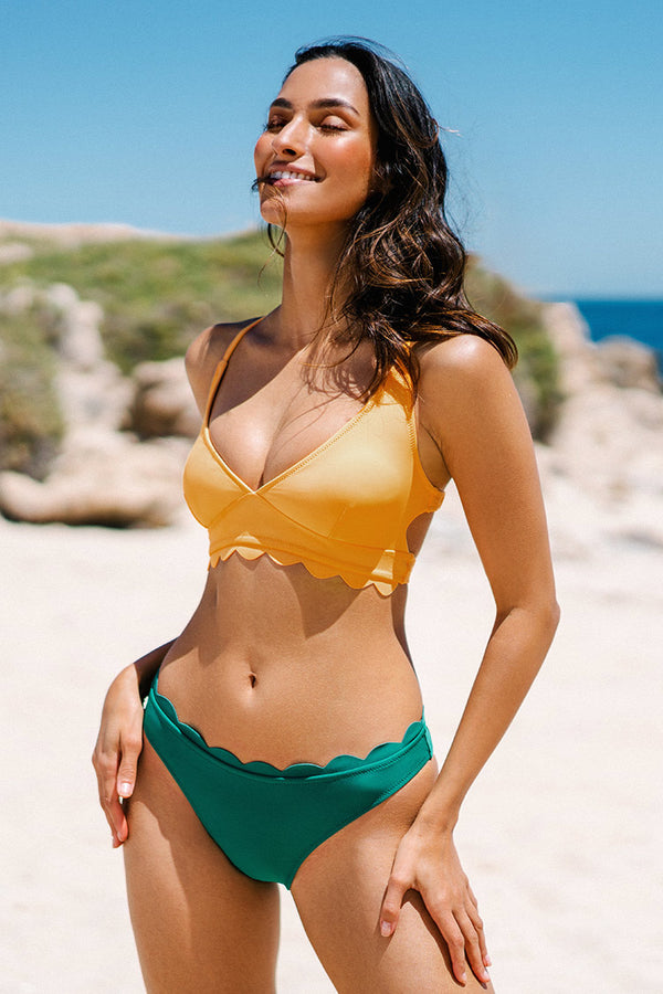Yellow Scalloped Lace Up Bikini Top