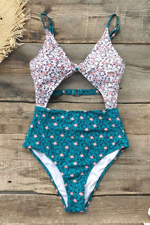 Pink-Blue Dainty Floral Print Cutout One-Piece Swimsuit
