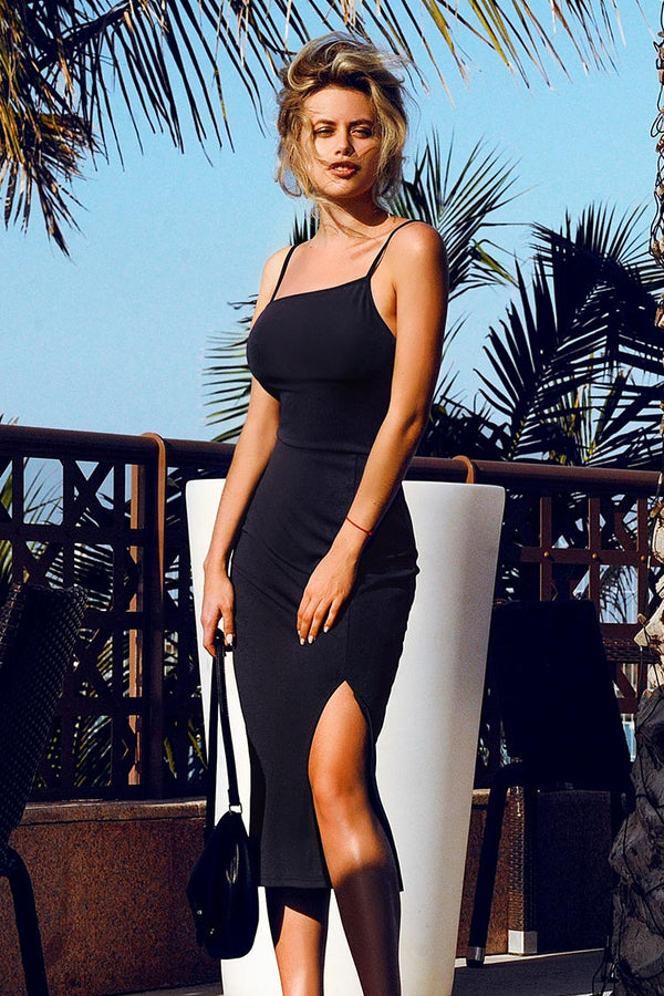 Navy Solid Strap Dress