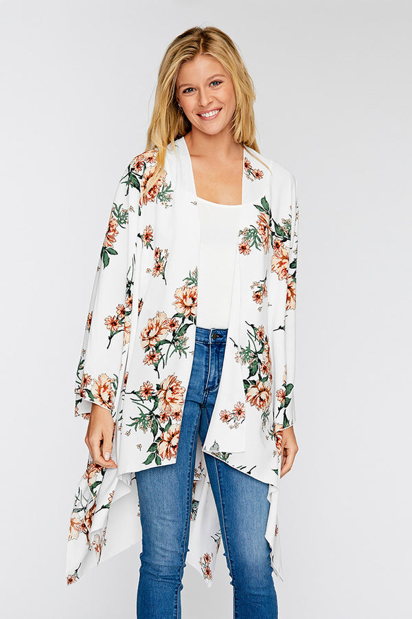 Peony Floral Print Long Sleeve Cover Up