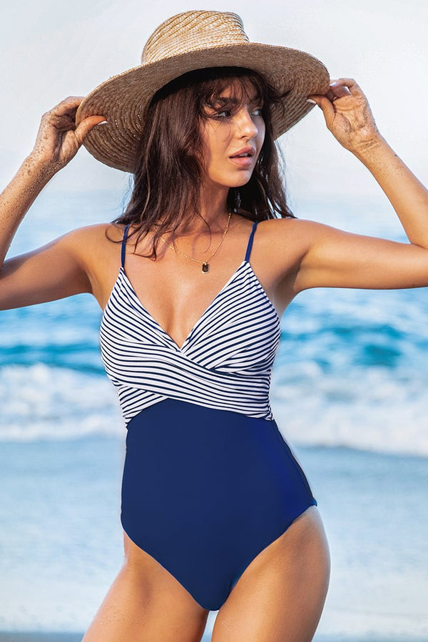 Blue and Stripe One Piece Swimsuit