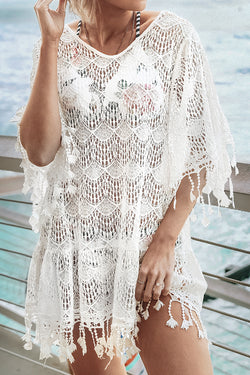 White Lace Crochet Cover Up with Tassel Trim