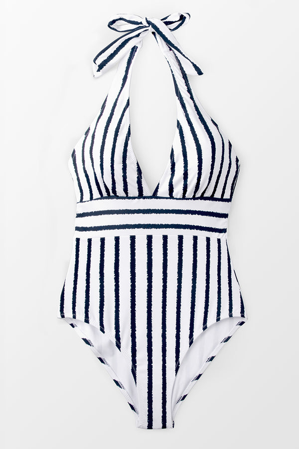 Navy And White Stripe Halter One-piece Swimsuit