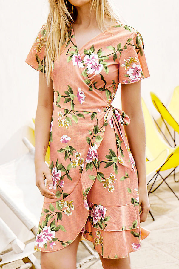 Pink Floral Print Ruffles Side Lace Up Dress