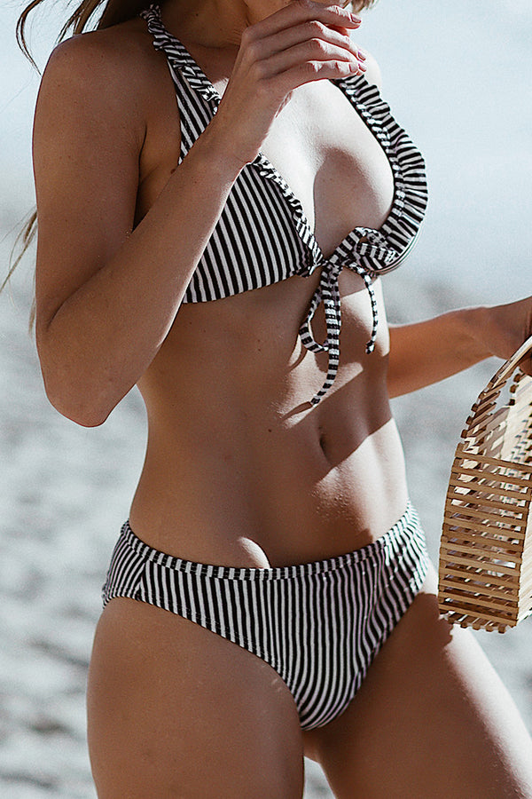 Navy and White Stripe Bikini With Ruffles