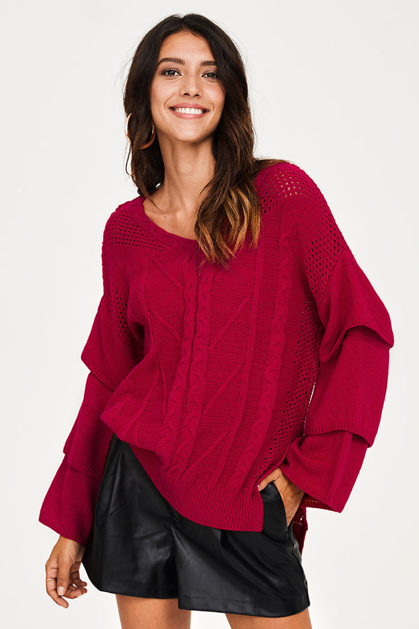 Red Layered Sleeve Sweater