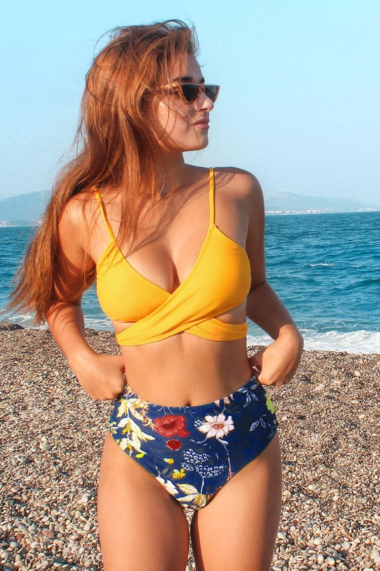 Yellow Front Wrap and Floral Bikini