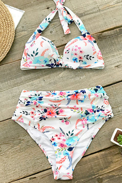Seaside Floral High-Waisted Bikini