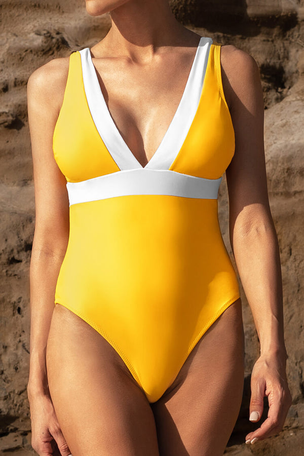 Yellow and White V-Neck One-Piece Swimsuit