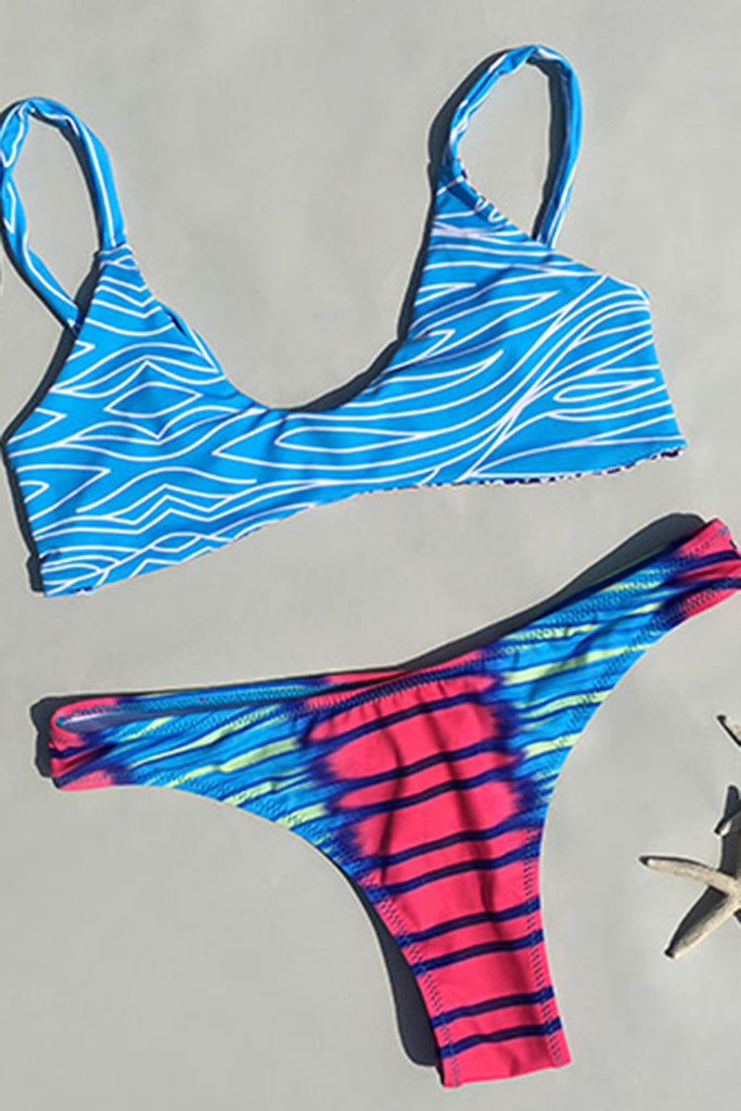 Cupshe Colorful Summer Waves Bikini Set