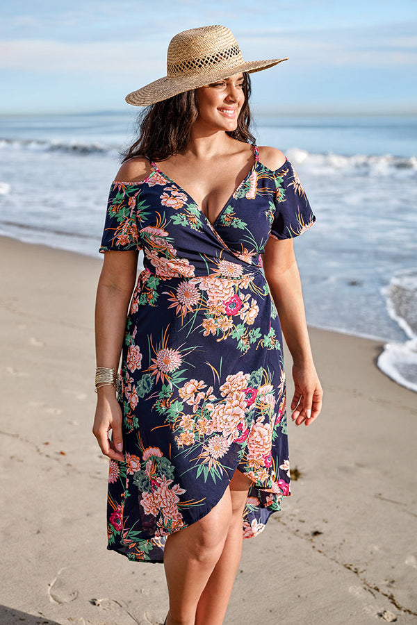 Navy Floral Wrap Off The Shoulder Plus Size Dress