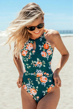Teal Floral Scalloped One-piece Swimsuit