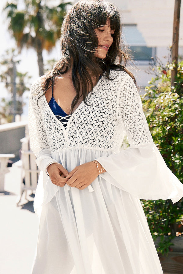 Flare Sleeve Chiffon Cover Up