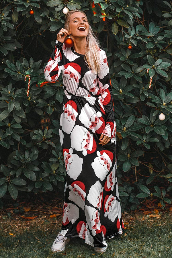 Santa Print Long Sleeve Maxi Dress