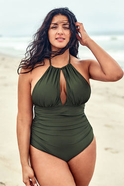 Olive Halter Plus Size One Piece Swimsuit