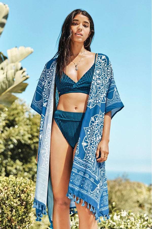 Blue Boho Print Cover Up with Tassels