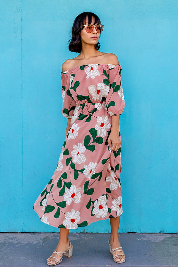 Pink Floral Off The Shoulder Maxi Dress