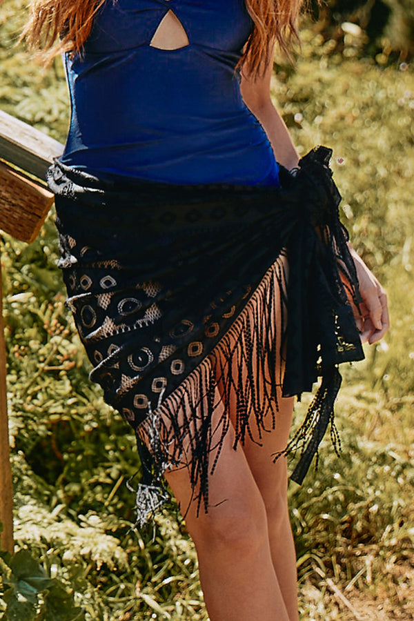 Sexy Black Lace Cover Up With Tassel