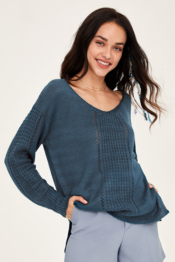 Drop Stitch V-Neck Sweater