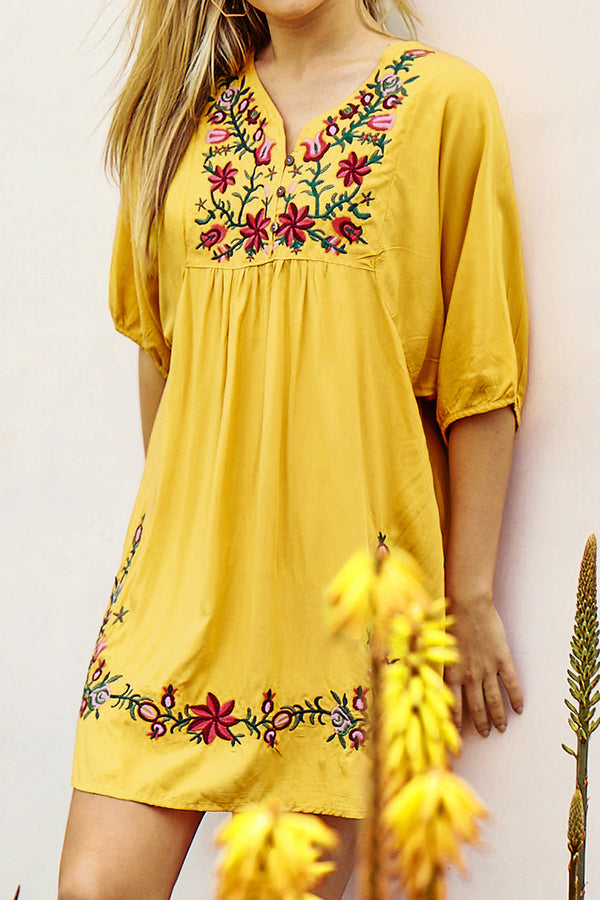 Yellow Floral Embroidered Dress