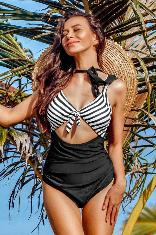Black And White Ruched One-Piece Swimsuit