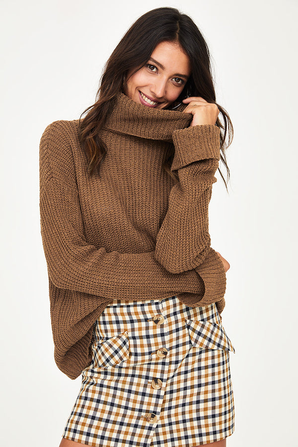 Oversized Knit Turtleneck Sweater