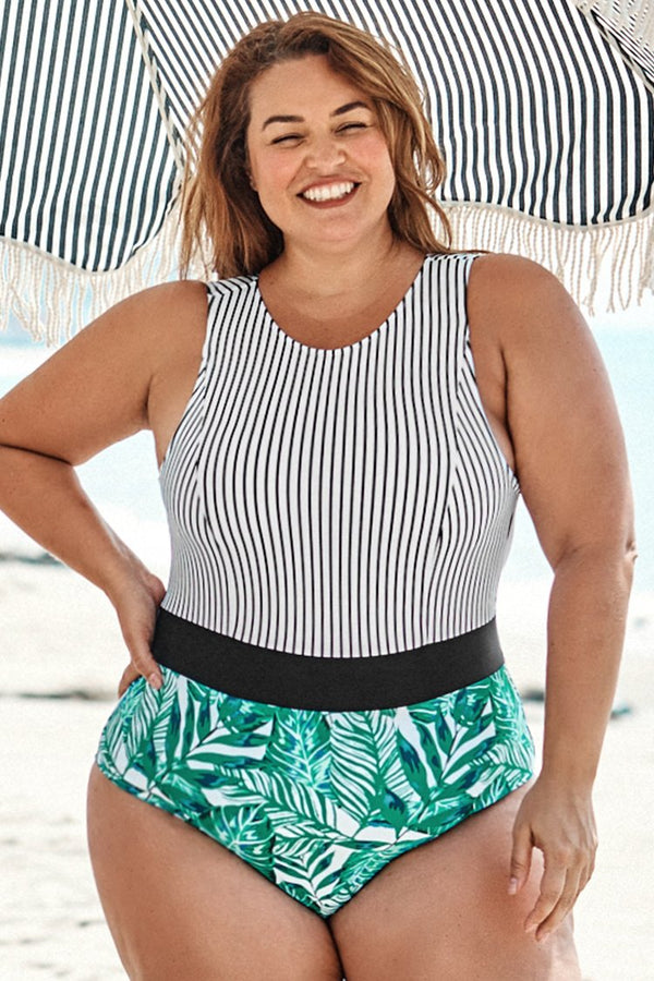 Striped and Leafy Print Plus Size One Piece Swimsuit
