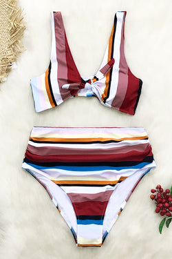 49d67d36d6 Colorful Stripe High-Waisted Bikini